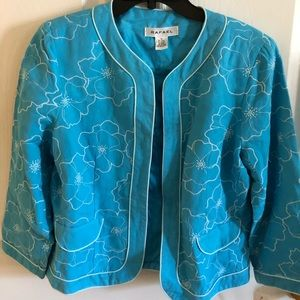 Rafael blue lien embroidery blazer in size 10